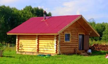 Стоительство рубленой бани в деревне Петровское