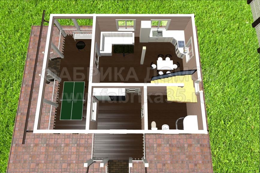 1 этаж - 3D вид