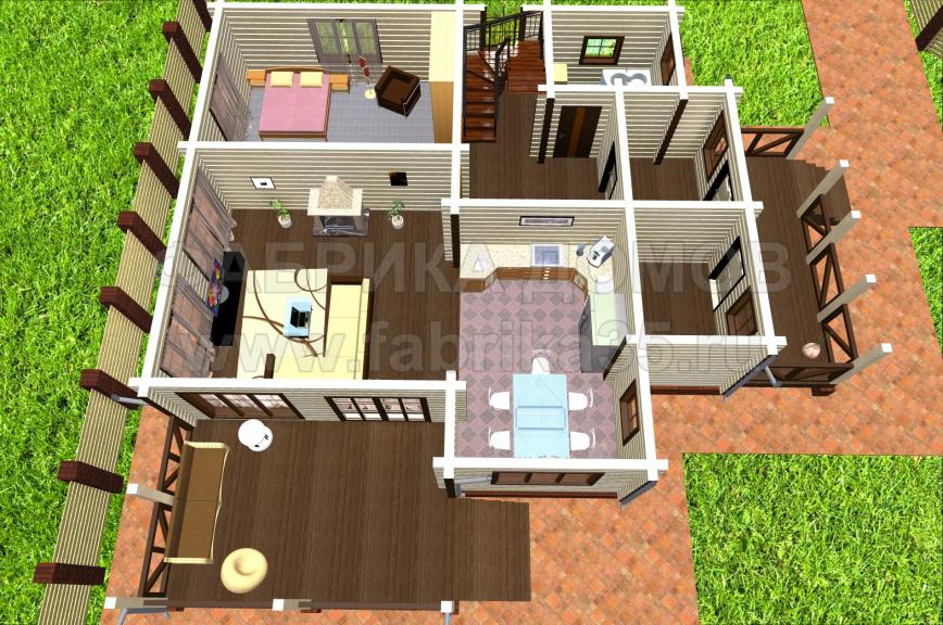 Первый этаж - 3D вид