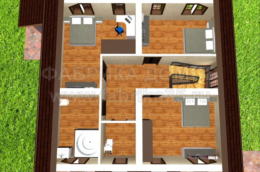 Второй этаж - 3D вид